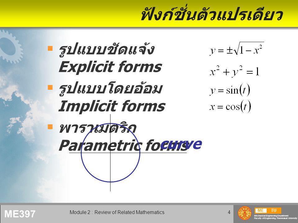 METU Mechanical Engineering Department Faculty of Engineering, Thammasat University ME397 Module 2 : Review of Related Mathematics5 ฟังก์ชั่นหลายตัวแปร 2 ตัวแปร (x,y) => พื้นผิว