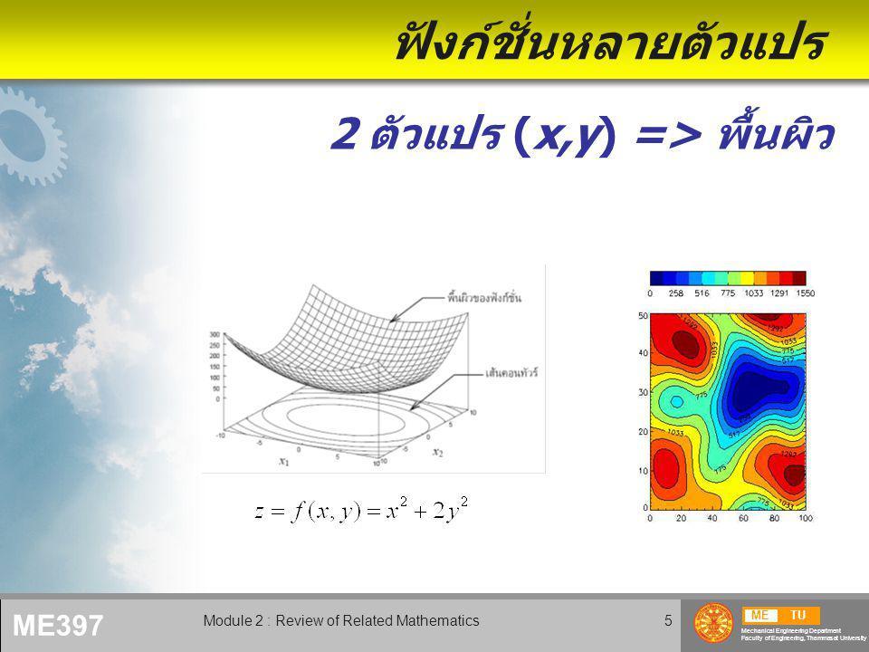METU Mechanical Engineering Department Faculty of Engineering, Thammasat University ME397 Module 2 : Review of Related Mathematics6 ฟังก์ชั่นหลายตัวแปร (2) 3 ตัวแปร => ปริมาตร • Iso-surfaces • Multi-slice contours • Projection 4 ตัวแปรขึ้นไป => hyper entity