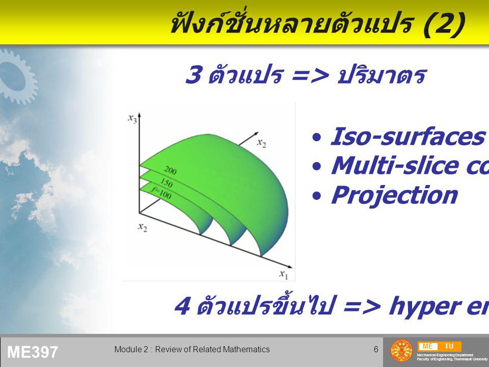 METU Mechanical Engineering Department Faculty of Engineering, Thammasat University ME397 Module 2 : Review of Related Mathematics7 ฟังก์ชั่นหลายตัวแปร (3)