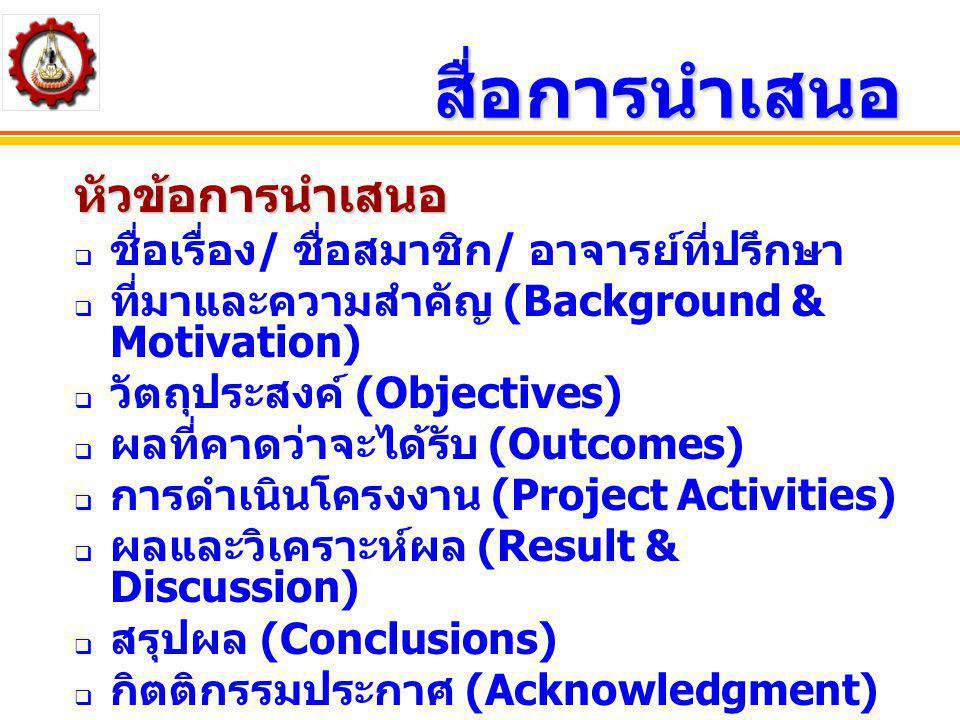 สื่อการนำเสนอ หัวข้อการนำเสนอ  ชื่อเรื่อง / ชื่อสมาชิก / อาจารย์ที่ปรึกษา  ที่มาและความสำคัญ (Background & Motivation)  วัตถุประสงค์ (Objectives) 