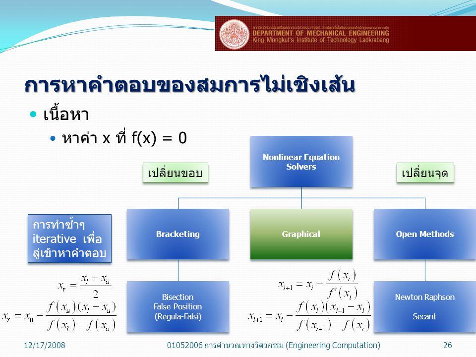 การหาคำตอบของสมการไม่เชิงเส้น  เนื้อหา  หาค่า x ที่ f(x) = 0 12/17/200801052006 การคำนวณทางวิศวกรรม (Engineering Computation)26 Nonlinear Equation S