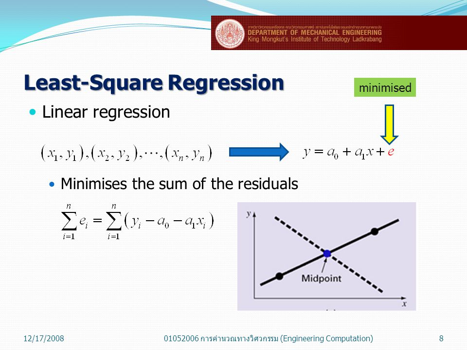 Least-Square Regression  Linear regression  Minimises the sum of the absolute values of discrepancies 12/17/200801052006 การคำนวณทางวิศวกรรม (Engineering Computation)9 minimised