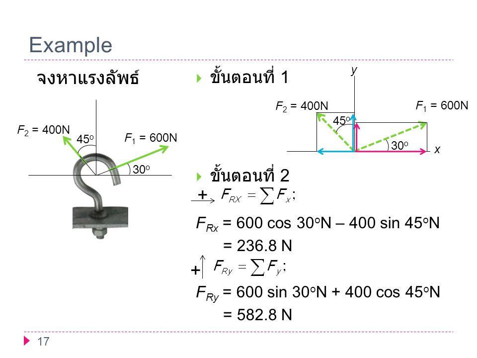 Example 17  ขั้นตอนที่ 1  ขั้นตอนที่ 2 F Rx = 600 cos 30 o N – 400 sin 45 o N = 236.8 N F Ry = 600 sin 30 o N + 400 cos 45 o N = 582.8 N 45 o 30 o F