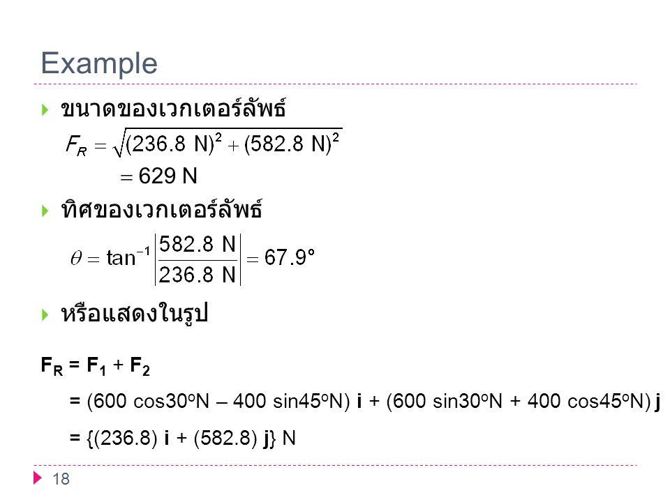 Example 18  ขนาดของเวกเตอร์ลัพธ์  629 N  ทิศของเวกเตอร์ลัพธ์  หรือแสดงในรูป F R = F 1 + F 2 = (600 cos30 o N – 400 sin45 o N) i + (600 sin30 o N +
