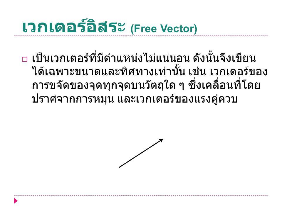 เวกเตอร์อิสระ (Free Vector)  เป็นเวกเตอร์ที่มีตำแหน่งไม่แน่นอน ดังนั้นจึงเขียน ได้เฉพาะขนาดและทิศทางเท่านั้น เช่น เวกเตอร์ของ การขจัดของจุดทุกจุดบนวั
