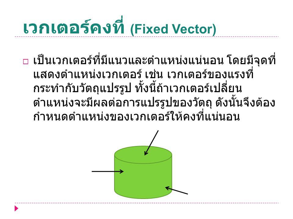 เวกเตอร์คงที่ (Fixed Vector)  เป็นเวกเตอร์ที่มีแนวและตำแหน่งแน่นอน โดยมีจุดที่ แสดงตำแหน่งเวกเตอร์ เช่น เวกเตอร์ของแรงที่ กระทำกับวัตถุแปรรูป ทั้งนี้