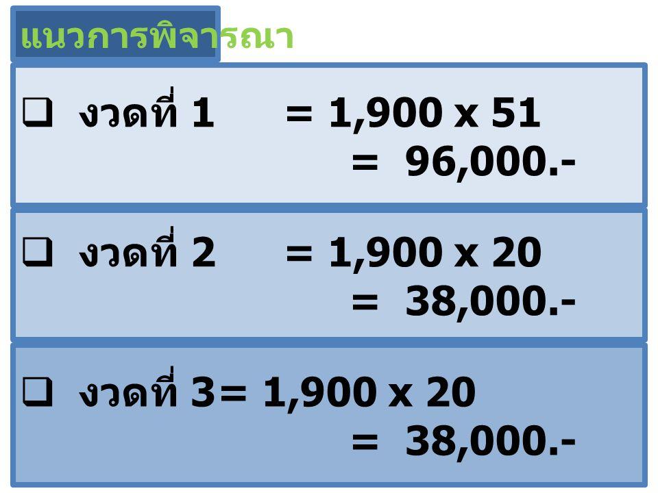  งวดที่ 1 = 1,900 x 51 = 96,000.- แนวการพิจารณา  งวดที่ 2 = 1,900 x 20 = 38,000.-  งวดที่ 3= 1,900 x 20 = 38,000.-