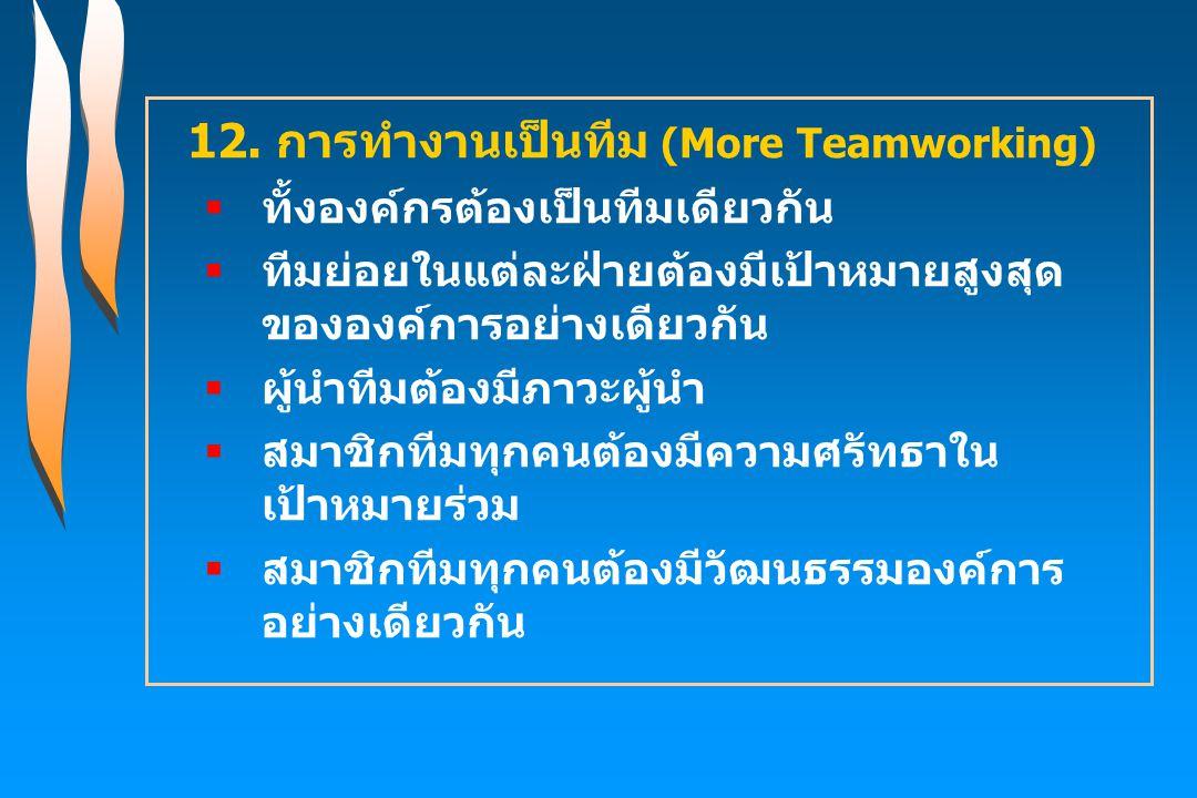 12. การทำงานเป็นทีม (More Teamworking)  ทั้งองค์กรต้องเป็นทีมเดียวกัน  ทีมย่อยในแต่ละฝ่ายต้องมีเป้าหมายสูงสุด ขององค์การอย่างเดียวกัน  ผู้นำทีมต้อง