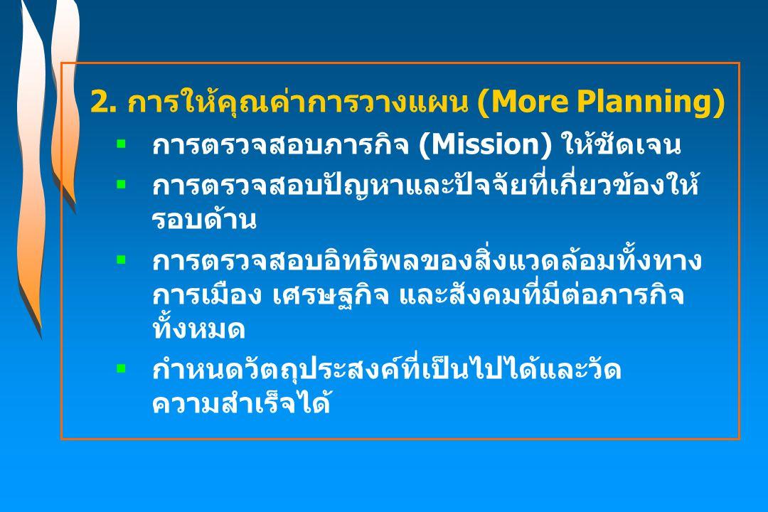 2. การให้คุณค่าการวางแผน (More Planning)  การตรวจสอบภารกิจ (Mission) ให้ชัดเจน  การตรวจสอบปัญหาและปัจจัยที่เกี่ยวข้องให้ รอบด้าน  การตรวจสอบอิทธิพล