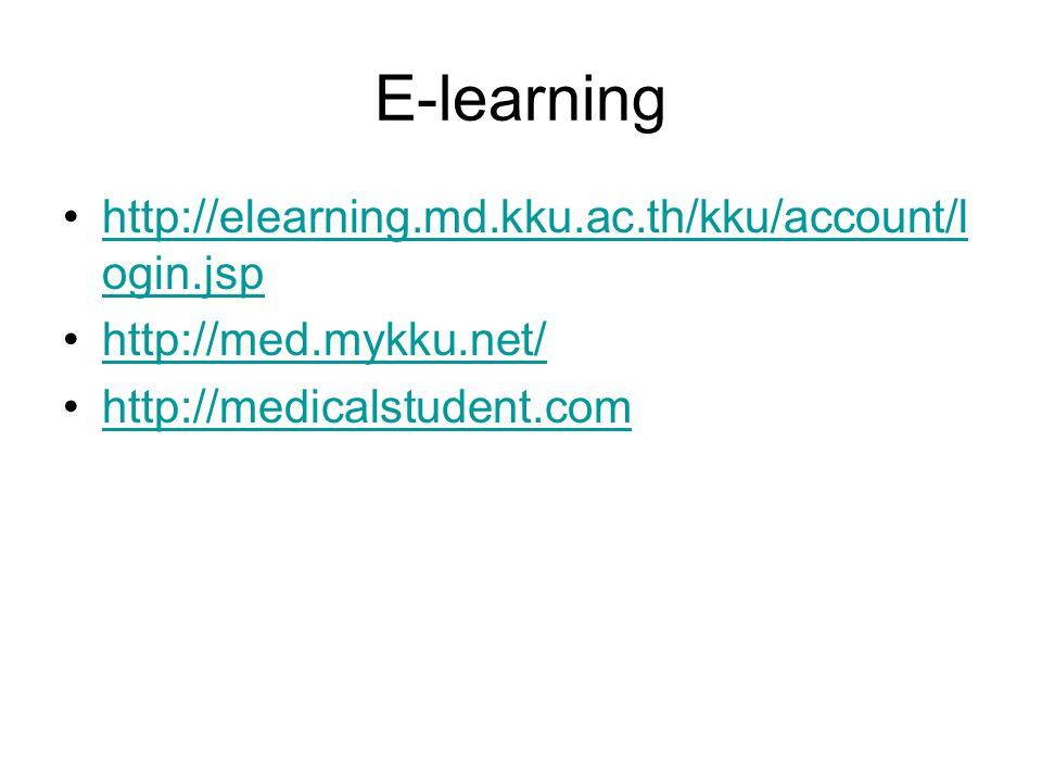 E-learning •http://elearning.md.kku.ac.th/kku/account/l ogin.jsphttp://elearning.md.kku.ac.th/kku/account/l ogin.jsp •http://med.mykku.net/http://med.