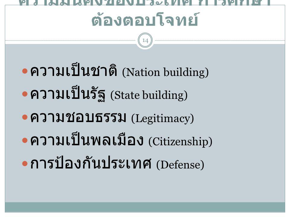 ความมั่นคงของประเทศ การศึกษา ต้องตอบโจทย์  ความเป็นชาติ (Nation building)  ความเป็นรัฐ (State building)  ความชอบธรรม (Legitimacy)  ความเป็นพลเมือง
