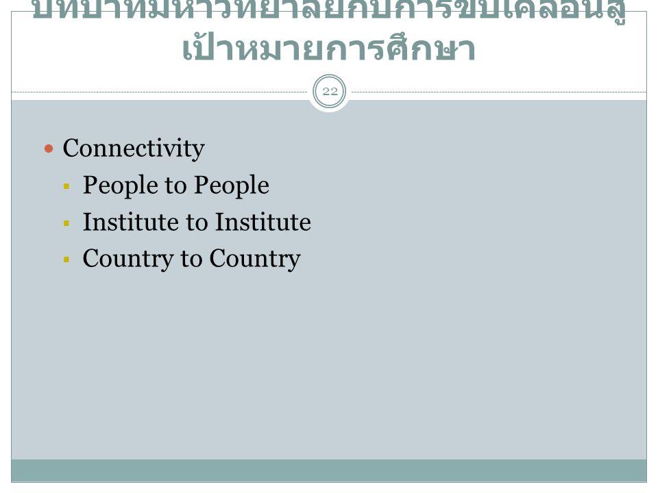 บทบาทมหาวิทยาลัยกับการขับเคลื่อนสู่ เป้าหมายการศึกษา  Connectivity  People to People  Institute to Institute  Country to Country 22