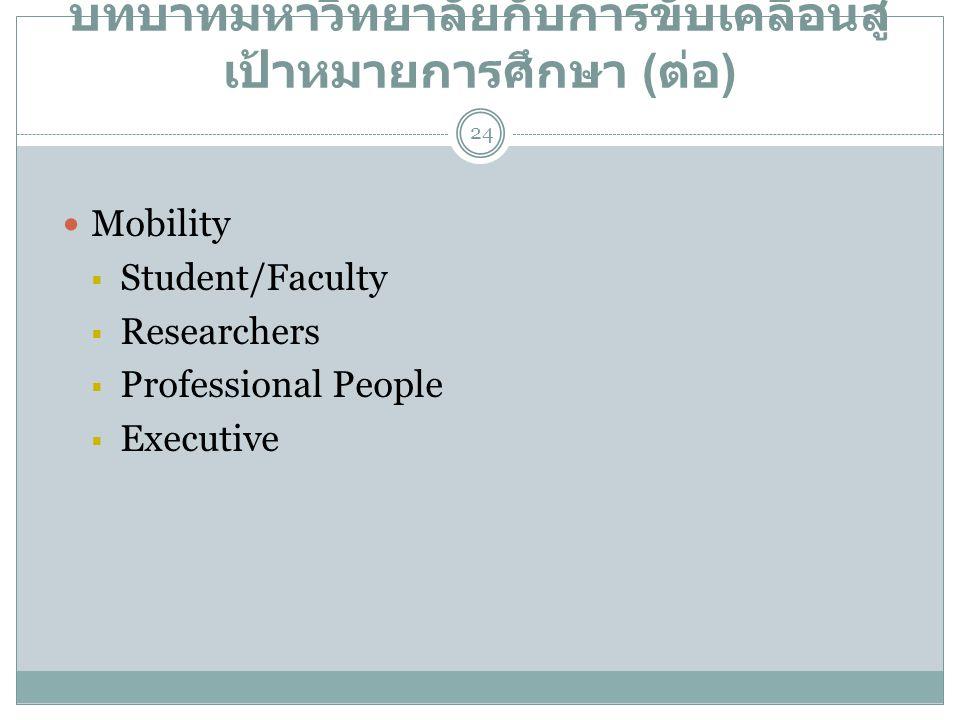บทบาทมหาวิทยาลัยกับการขับเคลื่อนสู่ เป้าหมายการศึกษา ( ต่อ )  Mobility  Student/Faculty  Researchers  Professional People  Executive 24