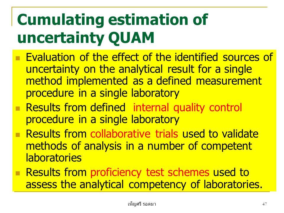 เพ็ญศรี รอดมา 47 Cumulating estimation of uncertainty QUAM  Evaluation of the effect of the identified sources of uncertainty on the analytical resul