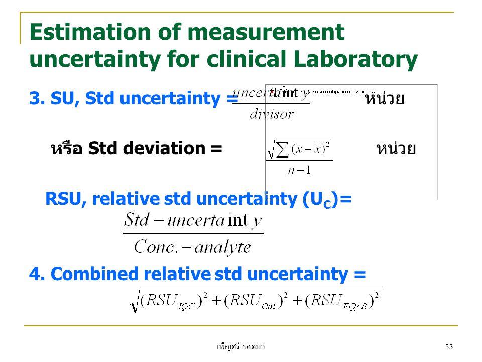 เพ็ญศรี รอดมา 53 Estimation of measurement uncertainty for clinical Laboratory 3. SU, Std uncertainty = หน่วย หรือ Std deviation = หน่วย RSU, relative