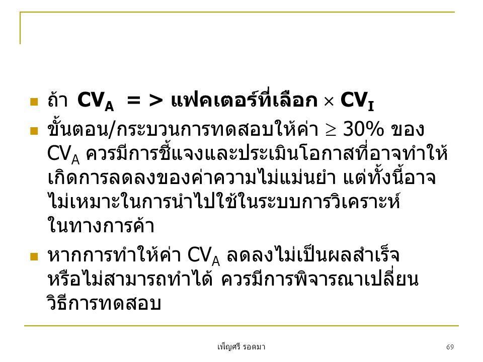 เพ็ญศรี รอดมา 69  ถ้าCV A = > แฟคเตอร์ที่เลือก  CV I  ขั้นตอน/กระบวนการทดสอบให้ค่า  30% ของ CV A ควรมีการชี้แจงและประเมินโอกาสที่อาจทำให้ เกิดการลดลงของค่าความไม่แม่นยำ แต่ทั้งนี้อาจ ไม่เหมาะในการนำไปใช้ในระบบการวิเคราะห์ ในทางการค้า  หากการทำให้ค่า CV A ลดลงไม่เป็นผลสำเร็จ หรือไม่สามารถทำได้ ควรมีการพิจารณาเปลี่ยน วิธีการทดสอบ