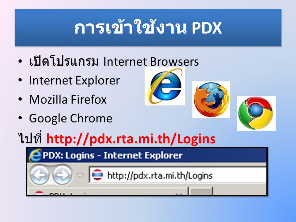 การเข้าใช้งาน PDX • ทำการเข้าสู่ระบบ โดยใช้ – ชื่อเข้าใช้ ( username ) • Admin : เลขบัตรประชาชน 13 หลัก ต่อด้วย a เช่น 1234567890123a • User : เลขบัตรประชาชน 13 หลัก ต่อด้วย u เช่น 1234567890123u – รหัสผ่าน ( password ) กรอก Username กรอก password คลิกปุ่ม เพื่อเข้า สู่ระบบ