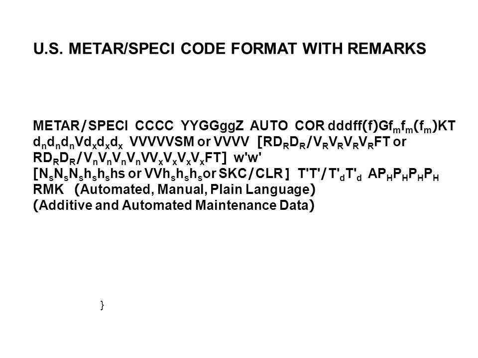 METAR/SPECI CCCC YYGGggZ AUTO COR dddff(f)Gf m f m (f m )KT d n d n d n Vd x d x d x VVVVVSM or VVVV [RD R D R /V R V R V R V R FT or RD R D R /V n V