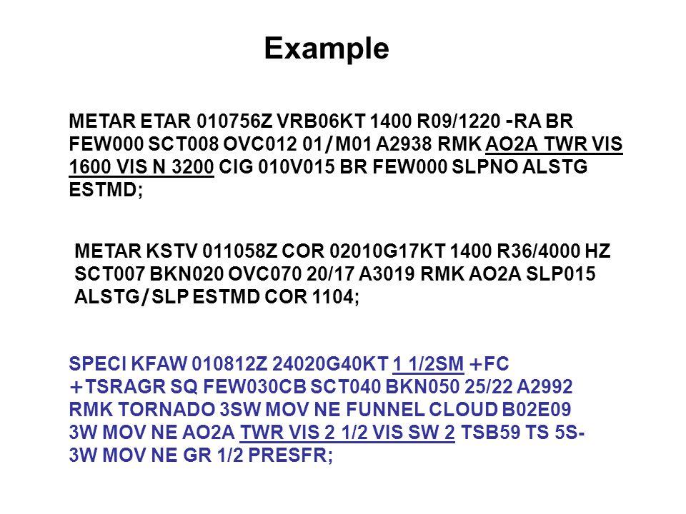 METAR ETAR 010756Z VRB06KT 1400 R09/1220 -RA BR FEW000 SCT008 OVC012 01/M01 A2938 RMK AO2A TWR VIS 1600 VIS N 3200 CIG 010V015 BR FEW000 SLPNO ALSTG E