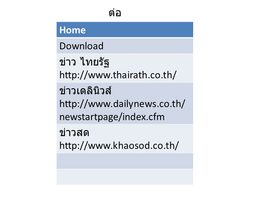 Home Download ข่าว ไทยรัฐ http://www.thairath.co.th/ ข่าวเดลินิวส์ http://www.dailynews.co.th/ newstartpage/index.cfm ข่าวสด http://www.khaosod.co.th/ ต่อ