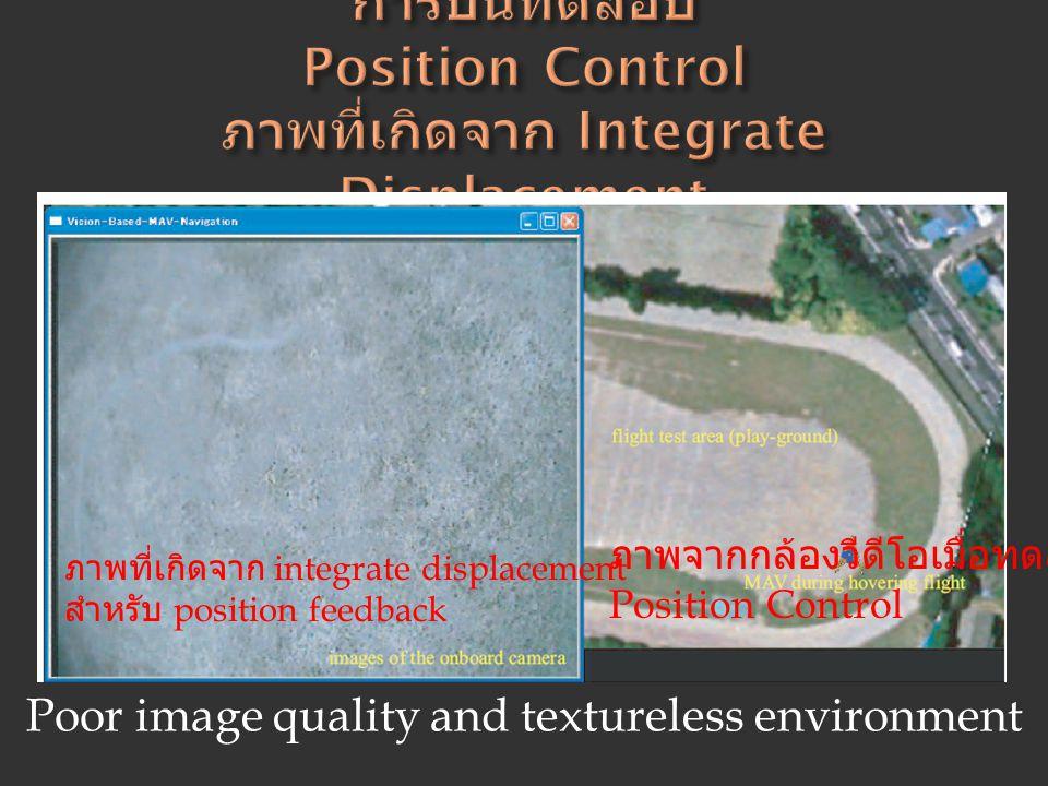 ภาพจากกล้องวีดีโอเมื่อทดสอบ Position Control ภาพที่เกิดจาก integrate displacement สำหรับ position feedback Poor image quality and textureless environm