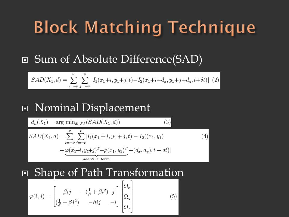  Sum of Absolute Difference(SAD)  Nominal Displacement  Shape of Path Transformation