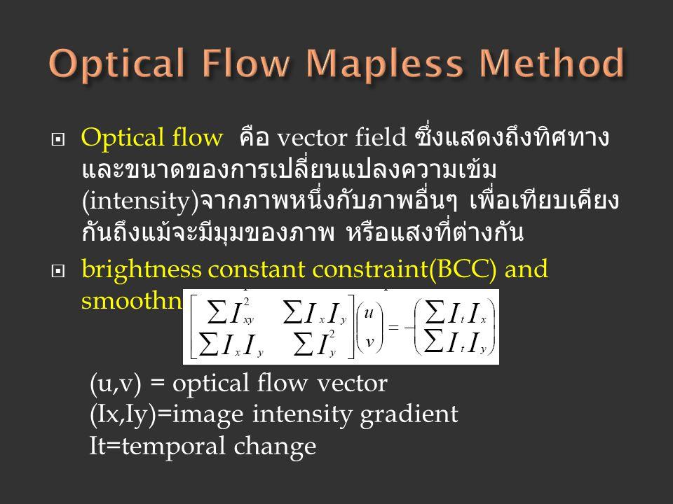  Optical flow คือ vector field ซึ่งแสดงถึงทิศทาง และขนาดของการเปลี่ยนแปลงความเข้ม (intensity) จากภาพหนึ่งกับภาพอื่นๆ เพื่อเทียบเคียง กันถึงแม้จะมีมุม