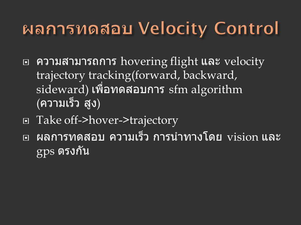  ความสามารถการ hovering flight และ velocity trajectory tracking(forward, backward, sideward) เพื่อทดสอบการ sfm algorithm ( ความเร็ว สูง )  Take off-