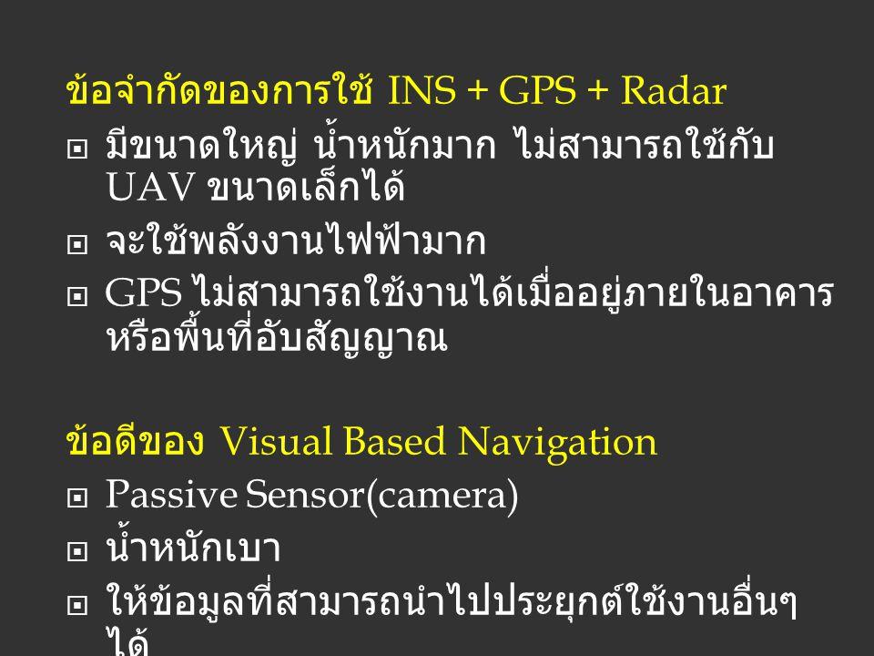 ข้อจำกัดของการใช้ INS + GPS + Radar  มีขนาดใหญ่ น้ำหนักมาก ไม่สามารถใช้กับ UAV ขนาดเล็กได้  จะใช้พลังงานไฟฟ้ามาก  GPS ไม่สามารถใช้งานได้เมื่ออยู่ภา