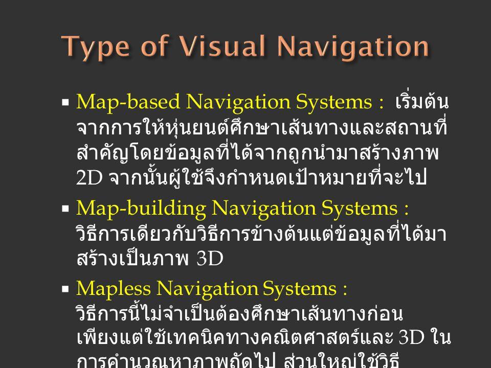  Map-based Navigation Systems : เริ่มต้น จากการให้หุ่นยนต์ศึกษาเส้นทางและสถานที่ สำคัญโดยข้อมูลที่ได้จากถูกนำมาสร้างภาพ 2D จากนั้นผู้ใช้จึงกำหนดเป้าห