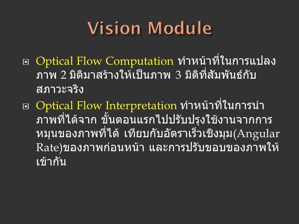  Optical Flow Computation ทำหน้าที่ในการแปลง ภาพ 2 มิติมาสร้างให้เป็นภาพ 3 มิติที่สัมพันธ์กับ สภาวะจริง  Optical Flow Interpretation ทำหน้าที่ในการน