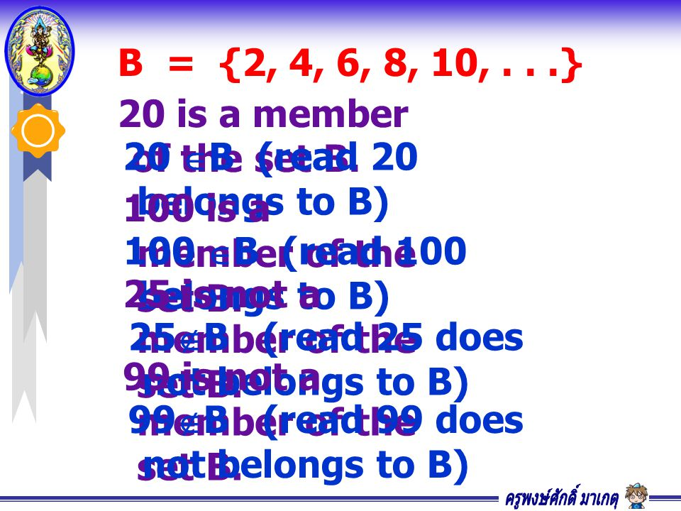 B = {2, 4, 6, 8, 10,...} 20 is a member of the set B. 20  B (read 20 belongs to B) 100 is a member of the set B. 100  B (read 100 belongs to B) 25 i