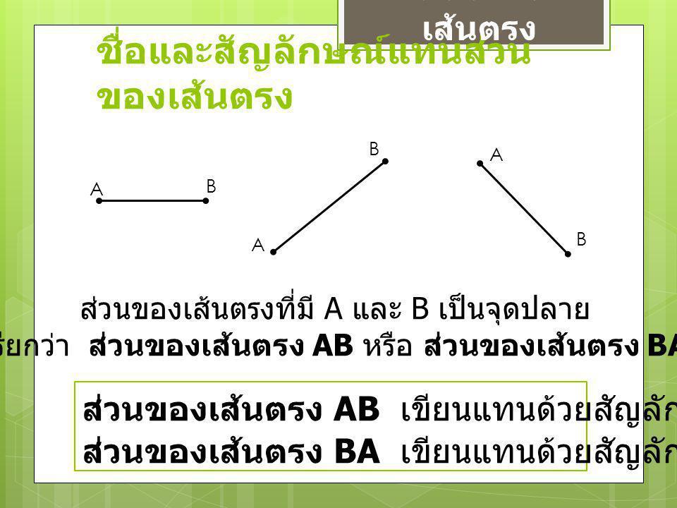 ชื่อและสัญลักษณ์แทนส่วน ของเส้นตรง ส่วนของ เส้นตรง A A A B B B ส่วนของเส้นตรงที่มี A และ B เป็นจุดปลาย เรียกว่า ส่วนของเส้นตรง AB หรือ ส่วนของเส้นตรง