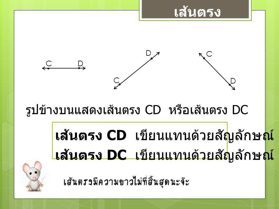 เส้นตรง C C C D D D รูปข้างบนแสดงเส้นตรง CD หรือเส้นตรง DC