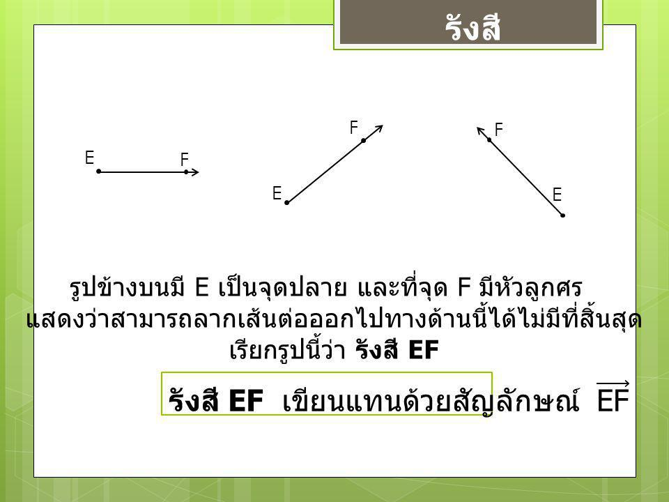รังสี E F F E F E รูปข้างบนมี E เป็นจุดปลาย และที่จุด F มีหัวลูกศร แสดงว่าสามารถลากเส้นต่อออกไปทางด้านนี้ได้ไม่มีที่สิ้นสุด เรียกรูปนี้ว่า รังสี EF
