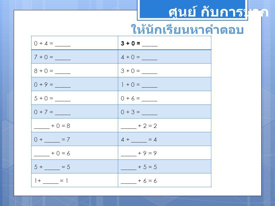 ศูนย์ กับการบวก ให้นักเรียนหาคำตอบ 0 + 4 = _____ 3 + 0 = _____ 7 + 0 = _____ 4 + 0 = _____ 8 + 0 = _____3 + 0 = _____ 0 + 9 = _____1 + 0 = _____ 5 + 0