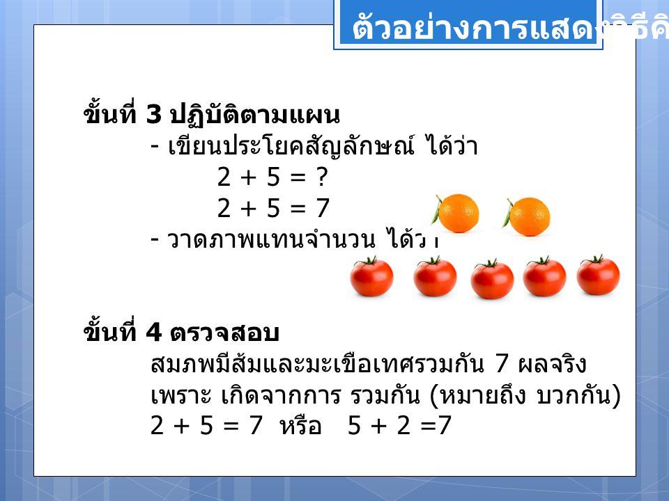 ตัวอย่างการแสดงวิธีคิด ขั้นที่ 3 ปฏิบัติตามแผน - เขียนประโยคสัญลักษณ์ ได้ว่า 2 + 5 = ? 2 + 5 = 7 - วาดภาพแทนจำนวน ได้ว่า ขั้นที่ 4 ตรวจสอบ สมภพมีส้มแล