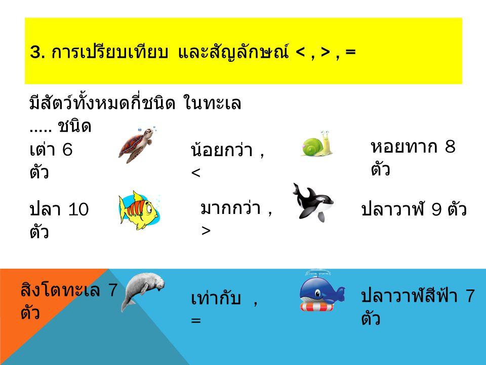 3. การเปรียบเทียบ และสัญลักษณ์, = เต่า 6 ตัว ปลา 10 ตัว ปลาวาฬสีฟ้า 7 ตัว สิงโตทะเล 7 ตัว ปลาวาฬ 9 ตัว หอยทาก 8 ตัว น้อยกว่า, < มากกว่า, > เท่ากับ, =