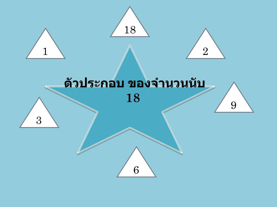 ตัวประกอบ ของจำนวนนับ 18 9 2 3 1 18 6