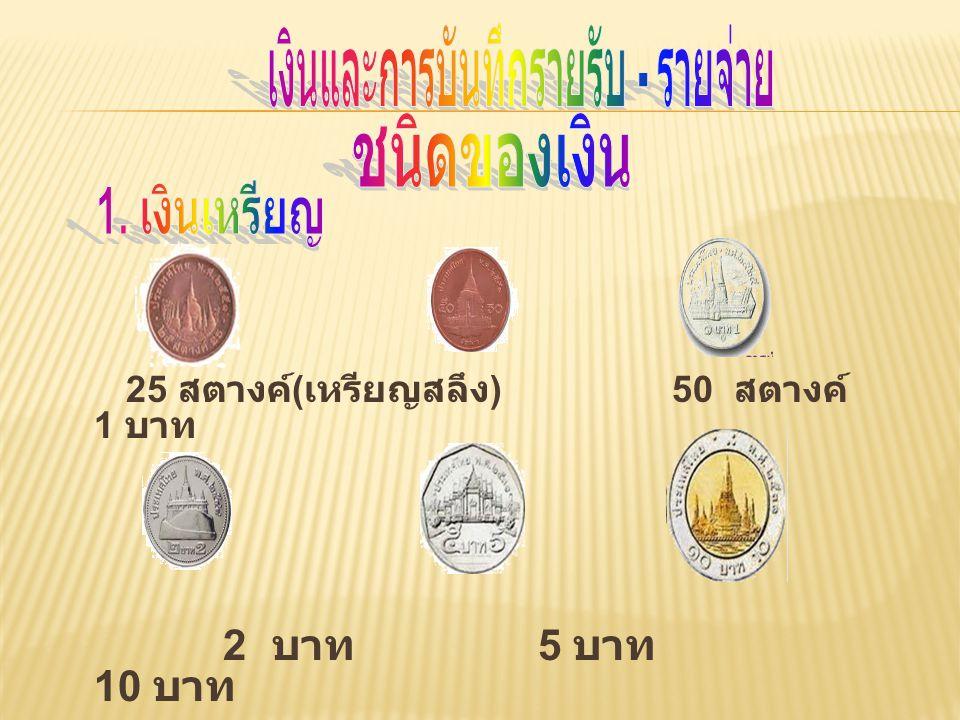 25 สตางค์ ( เหรียญสลึง ) 50 สตางค์ 1 บาท 2 บาท 5 บาท 10 บาท