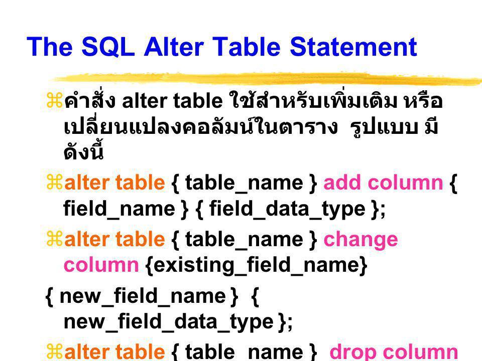 The SQL Alter Table Statement  คำสั่ง alter table ใช้สำหรับเพิ่มเติม หรือ เปลี่ยนแปลงคอลัมน์ในตาราง รูปแบบ มี ดังนี้  alter table { table_name } add