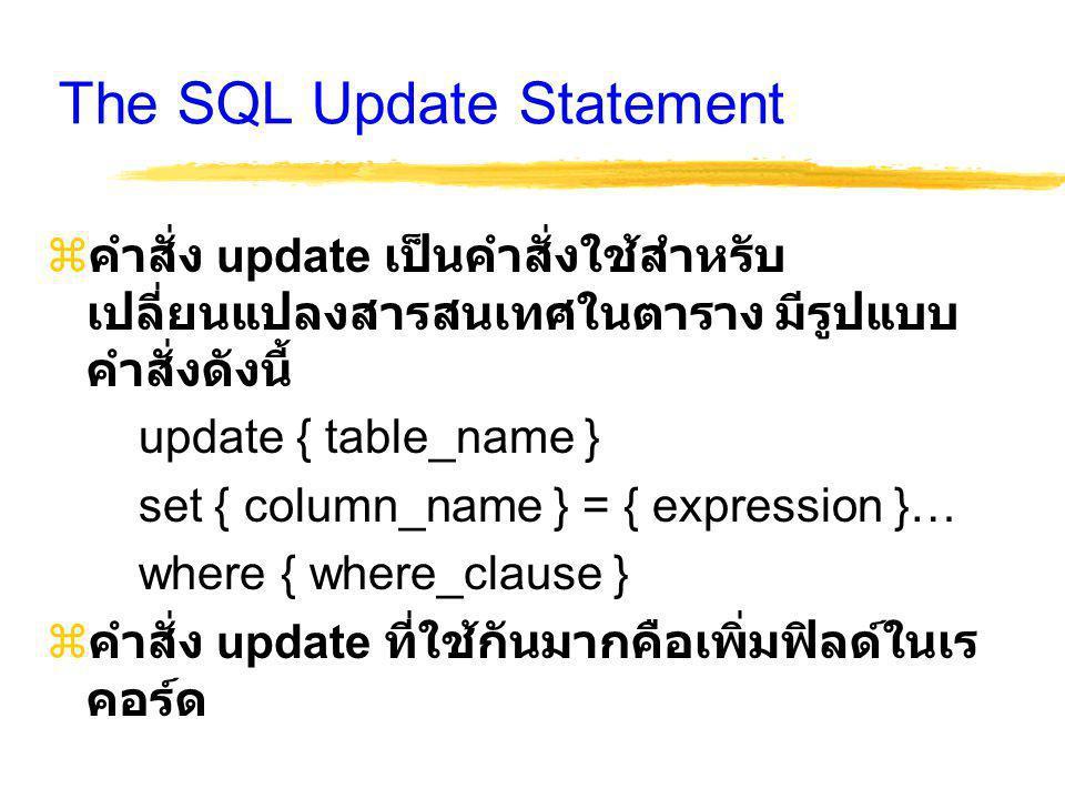 The SQL Update Statement  คำสั่ง update เป็นคำสั่งใช้สำหรับ เปลี่ยนแปลงสารสนเทศในตาราง มีรูปแบบ คำสั่งดังนี้ update { table_name } set { column_name } = { expression }… where { where_clause }  คำสั่ง update ที่ใช้กันมากคือเพิ่มฟิลด์ในเร คอร์ด