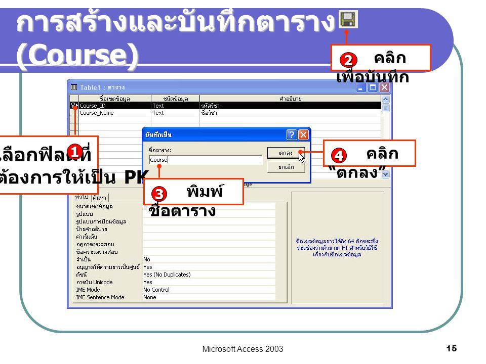 "Microsoft Access 2003 15 การสร้างและบันทึกตาราง (Course) เลือกฟิลด์ที่ ต้องการให้เป็น PK 1 คลิก เพื่อบันทึก 2 พิมพ์ ชื่อตาราง 3 คลิก "" ตกลง "" 4"