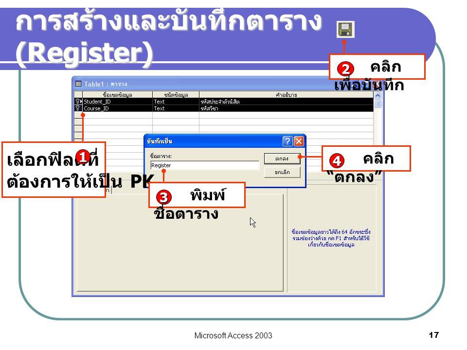 "Microsoft Access 2003 17 การสร้างและบันทึกตาราง (Register) เลือกฟิลด์ที่ ต้องการให้เป็น PK 1 คลิก เพื่อบันทึก 2 พิมพ์ ชื่อตาราง 3 คลิก "" ตกลง "" 4"