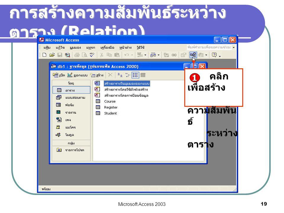 Microsoft Access 2003 19 การสร้างความสัมพันธ์ระหว่าง ตาราง (Relation) คลิก เพื่อสร้าง ความสัมพัน ธ์ ระหว่าง ตาราง 1