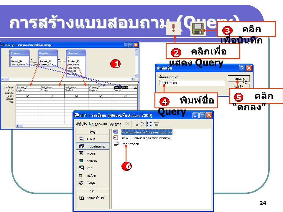 "Microsoft Access 2003 24 การสร้างแบบสอบถาม (Query) 1 คลิกเพื่อ แสดง Query 2 คลิก เพื่อบันทึก 3 พิมพ์ชื่อ Query 4 คลิก "" ตกลง "" 5 6"
