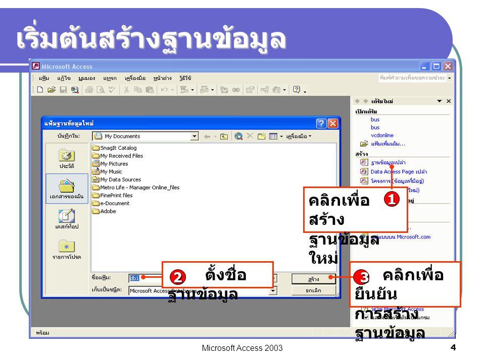 Microsoft Access 2003 4 เริ่มต้นสร้างฐานข้อมูล คลิกเพื่อ สร้าง ฐานข้อมูล ใหม่ 1 คลิกเพื่อ ยืนยัน การสร้าง ฐานข้อมูล 3 ตั้งชื่อ ฐานข้อมูล 2