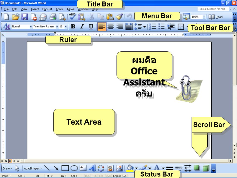 ผมคือ Office Assistant ครับ Text Area Title Bar Menu Bar Tool Bar Bar Ruler Scroll Bar Status Bar