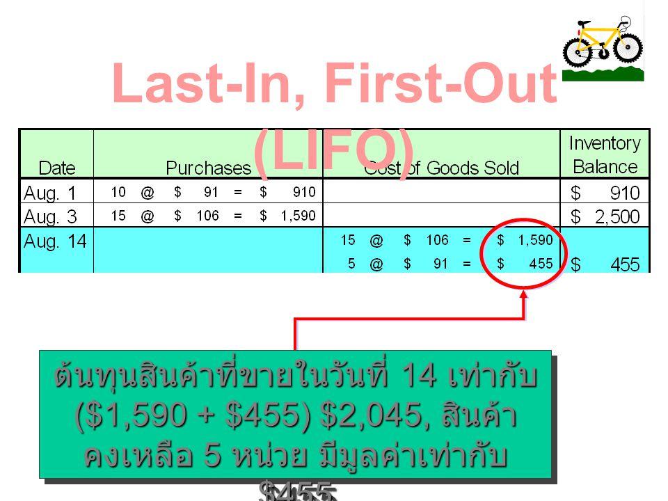 กิจการขายสินค้าในวันที่ 14 ส. ค. ทั้งหมด 20 คัน Last-In, First-Out (LIFO)