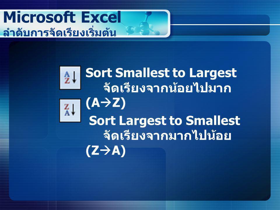 Microsoft Excel ลำดับการจัดเรียงเริ่มต้น  Sort Smallest to Largest จัดเรียงจากน้อยไปมาก (A  Z)  Sort Largest to Smallest จัดเรียงจากมากไปน้อย (Z 